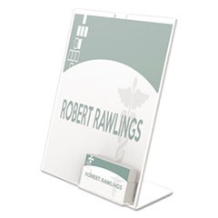 Superior Image Slanted Sign Holder w/Business Card Holder, 8 1/2 x 11, Clear