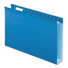 Extra Capacity Reinforced Hanging File Folders with Box Bottom, Legal Size, 1/5-Cut Tab, Blue, 25/Box