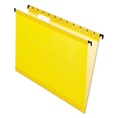 "SureHook Hanging Folders, Letter, 3/4"" Expansion, 1/5 Tab, Yellow, 20/Box"