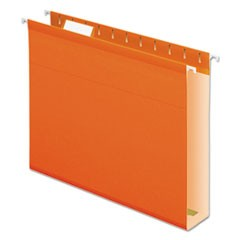 Extra Capacity Reinforced Hanging File Folders with Box Bottom, Letter Size, 1/5-Cut Tab, Orange, 25/Box