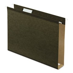 "2"" Extra Cap. Hanging File Folder w/Box Bottom, Letter, 1/5 Tab, Green, 25/Box"