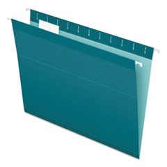 Colored Reinforced Hanging Folders, Letter Size, 1/5-Cut Tab, Teal, 25/Box