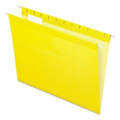 Colored Reinforced Hanging Folders, Letter Size, 1/5-Cut Tab, Yellow, 25/Box