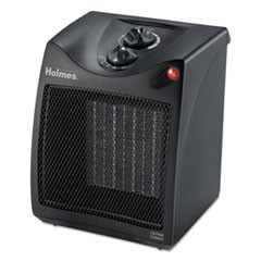 Compact Ceramic Heater with Manual Thermostat, 7 3/8 x 7 3/8 x 9 1/8, Black
