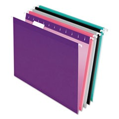 Colored Reinforced Hanging Folders, Letter, 1/5 Tab, Assorted, 25/Box