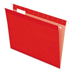 Colored Reinforced Hanging Folders, Letter Size, 1/5-Cut Tab, Red, 25/Box
