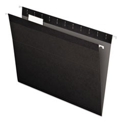 Colored Reinforced Hanging Folders, Letter, 1/5 Tab, Black, 25/Box