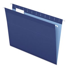 Colored Reinforced Hanging Folders, Letter, 1/5 Tab, Navy, 25/Box