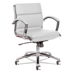 Alera Neratoli Low-Back Slim Profile Chair, White Faux Leather, Chrome Frame