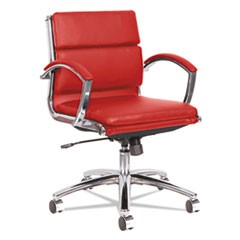 Alera Neratoli Low-Back Slim Profile Chair, Red Soft Leather, Chrome Frame