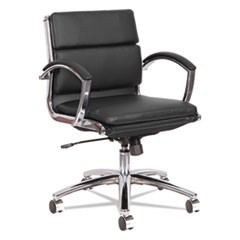 Alera Neratoli Low-Back Slim Profile Chair, Black Soft Leather, Chrome Frame