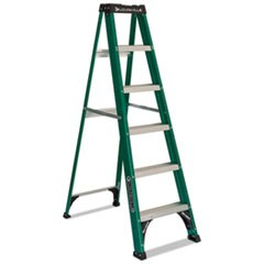 Fiberglass Step Ladder, 8 ft Working Height, 225 lbs Capacity, 5 Step, Green/Black