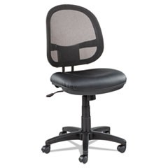 Alera Interval Series Swivel/Tilt Mesh Chair, Black Leather