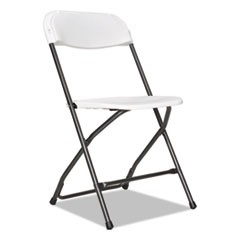 Economy Resin Folding Chair, White/Black Anthracite, 4/Carton