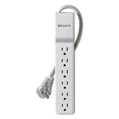 Surge Protector, 6 Outlets, 4 ft Cord, 720 Joules, White