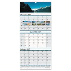Recycled Scenic Compact Three-Month Wall Calendar, 8 x 17, 2016-2018