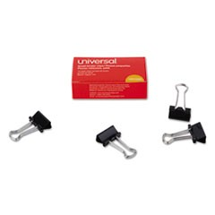 "Small Binder Clips, 3/8"" Capacity, 3/4"" Wide, Black, 12/Box"