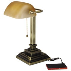 "Traditional Banker's Lamp with USB, 10""w x 10""d x 15""h, Antique Brass"
