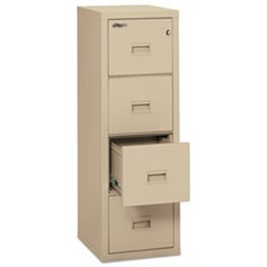 Turtle Four-Drawer File, 17.75w x 22.13d x 52.75h, UL Listed 350� for Fire, Parchment