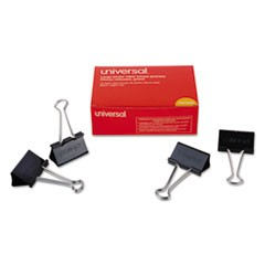 "Large Binder Clips, 1"" Capacity, 2"" Wide, Black, 12/Box"