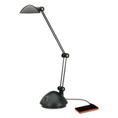 "Twin-Arm Task LED Lamp with USB Port, 11.88""w x 5.13""d x 18.5""h, Black"