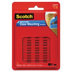 "Mounting Squares, Precut, Removable, 11/16"" x 11/16"", Clear, 35/Pack"