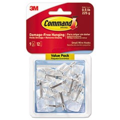 Clear Hooks and Strips, Plastic/Wire, Small, 9 Hooks with 12 Adhesive Strips per Pack