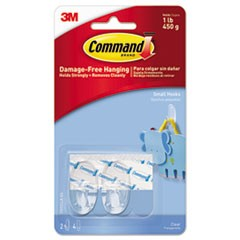 Clear Hooks & Strips, Plastic, Small, 2 Hooks & 4 Strips/Pack