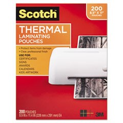 Letter Size Thermal Laminating Pouches, 3 mil, 11 2/5 x 8 9/10, 200/Pack