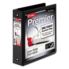 Cardinal Premier Easy Open Clearvue Locking Round Ring Binder, 3 Rings, 2  Capacity, 11 X 8.5, Black