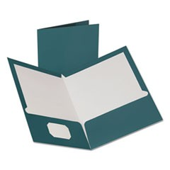 Two-Pocket Laminated Folder, 100-Sheet Capacity, Metallic Teal