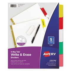 Write & Erase Big Tab Paper Dividers, 5-Tab, Multicolor, Letter