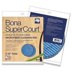 SuperCourt Athletic Floorcare Microfiber Cleaning Pad, 12 Dia, Lt/Dk Blue,2/Pk
