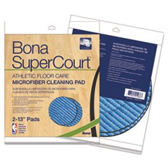 "SuperCourt Athletic Floorcare Microfiber Cleaning Pad, 13"" Dia, Lt/Dk Blue,2/Pk"