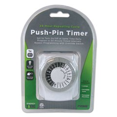 Push-Pin Timer, 1 Outlet, 15 Amps, White