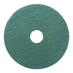 "Heavy-Duty Scrubbing Floor Pads, 18"" Diameter, Green, 5/Carton"