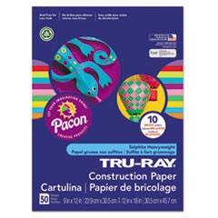 Tru-Ray Construction Paper, 76 lbs., 12 x 18, Bright Assortment, 50 Sheets/Pack