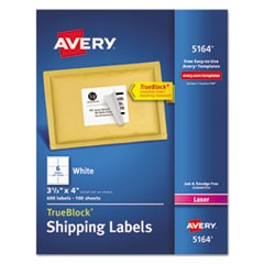 Shipping Labels w/ TrueBlock & Sure Feed, Laser, 3 1/3 x 4, White, 600/BX