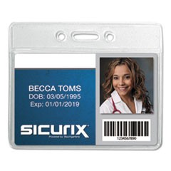 Sicurix Badge Holder, Horizontal, 2 1/8 x 3 3/8, Clear, 12/Pack