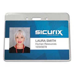 Sicurix Proximity Badge Holder, Horizontal, 4w x 3h, Clear, 50/Pack