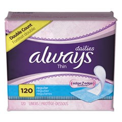 Thin Daily Panty Liners, Regular, 120/Pack, 6 Packs/Carton