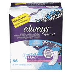 Discreet Incontinence Pads, Moderate, 66/Pack, 3 Packs/Carton