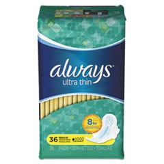 Ultra Thin Pads, Regular, 36/Pack, 6 Packs/Carton