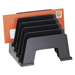 "Recycled Plastic Incline Sorter, 5 Sections, DL to A5 Size Files, 8"" x 5.5"" x 6"", Black"