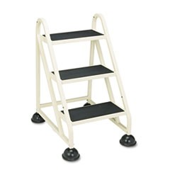 "Stop-Step Ladder, 32.75"" Working Height, 300 lbs Capacity, 3 Step, Beige"