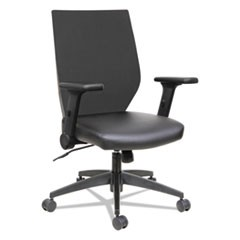 Alera EB-T Series Synchro Mid-Back Flip-Arm Chair, Supports up to 275 lbs., Black Seat/Black Back, Black Base