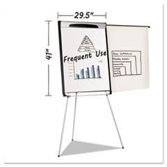 "Tripod Extension Bar Magnetic Dry-Erase Easel, 39"" to 72"" High, Black/Silver"