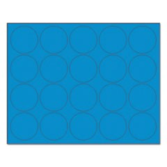 "Interchangeable Magnetic Board Accessories, Circles, Blue, 3/4"", 20/Pack"