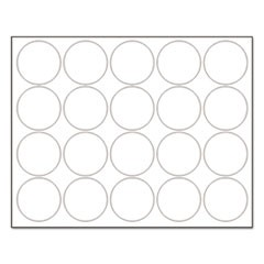 "Interchangeable Magnetic Board Accessories, Circles, White, 3/4"", 20/Pack"