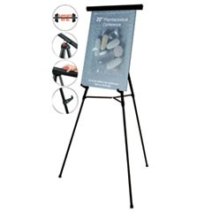 "Telescoping Tripod Display Easel, Adjusts 35"" to 64"" High, Metal, Black"